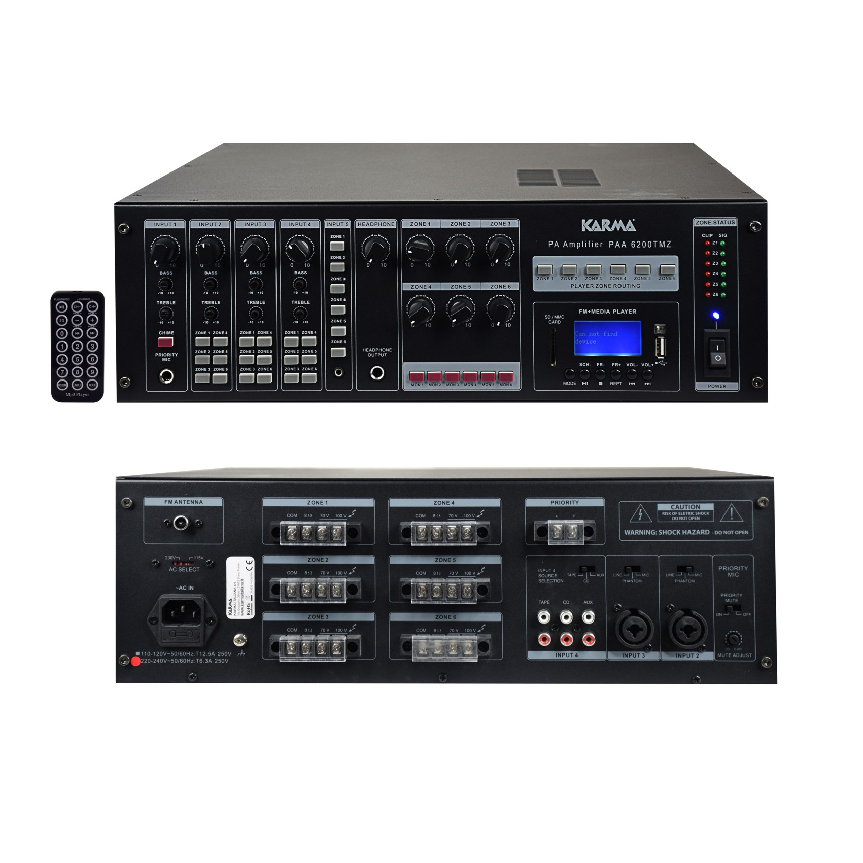 AMPLI-MIXEUR-MATRICE PA 6 ZONES 1200W MP3/FM